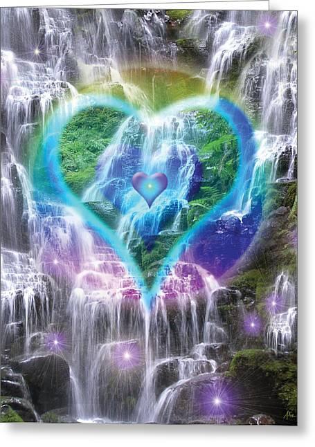 Heart Of Waterfalls Greeting Card by Alixandra Mullins