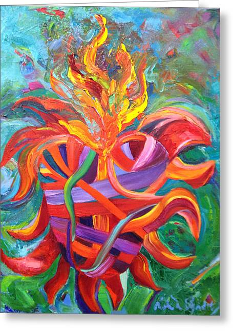 Corazon Greeting Cards - Heart on Fire Greeting Card by Debra Benditz