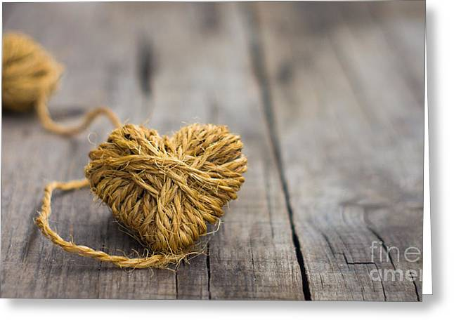 Coil Greeting Cards - Heart out of string Greeting Card by Aged Pixel
