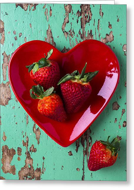 Edible Greeting Cards - Heart Plate With Strawberries Greeting Card by Garry Gay