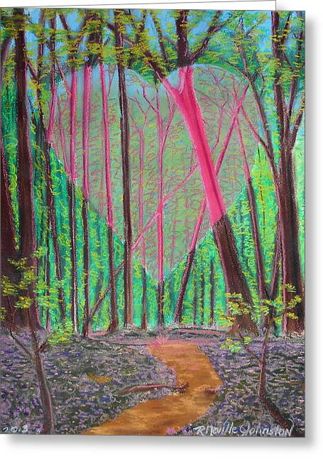 Ascension Mixed Media Greeting Cards - Heart Portal in the Woods Greeting Card by R Neville Johnston