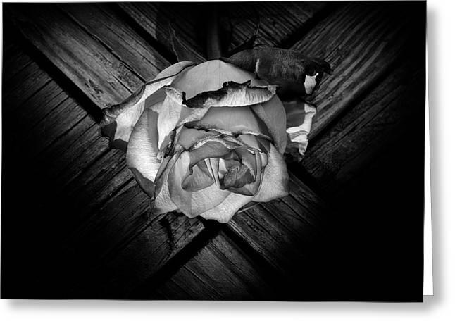 Woodgrain Greeting Cards - Heart Rose Greeting Card by Luke Moore