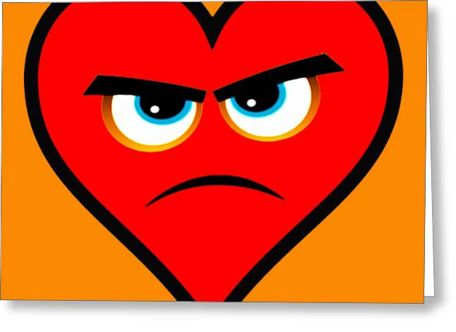 Angry Face Greeting Cards - Heart Series Love Angry Hearts Greeting Card by Tony Rubino