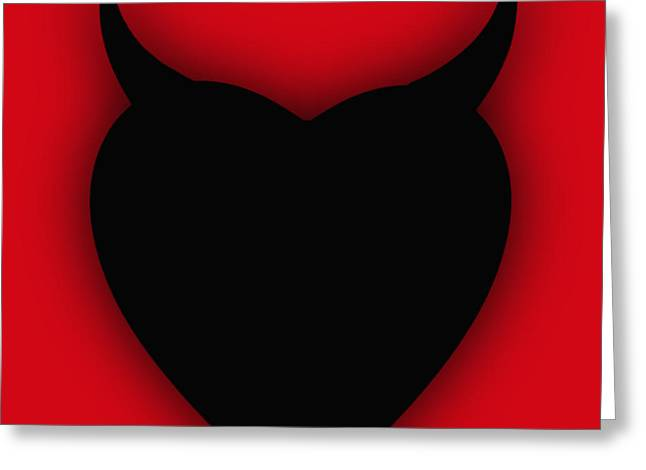 Anti Mixed Media Greeting Cards - Heart Series Love Black Devil Horns Greeting Card by Tony Rubino