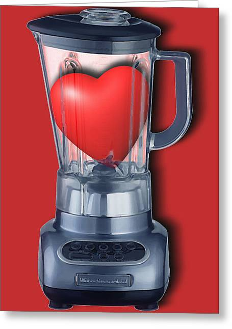 Interior Still Life Mixed Media Greeting Cards - Heart Series Love Blenders Greeting Card by Tony Rubino