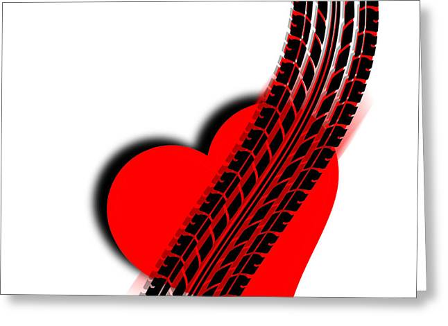 Anti Mixed Media Greeting Cards - Heart Series Love One Tire Track Greeting Card by Tony Rubino