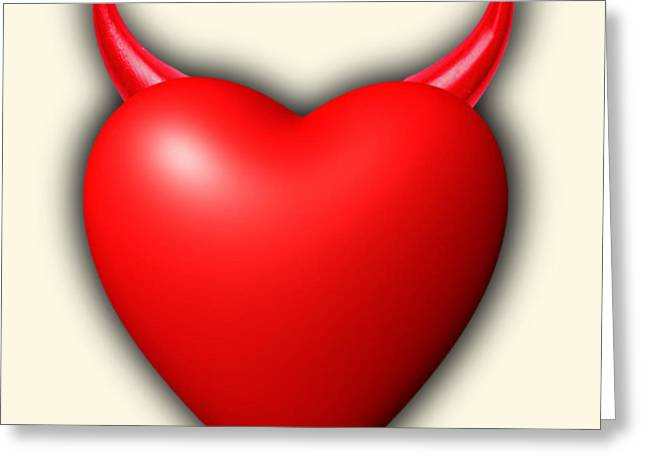 Anti Mixed Media Greeting Cards - Heart Series Love Red Devil Horns Greeting Card by Tony Rubino