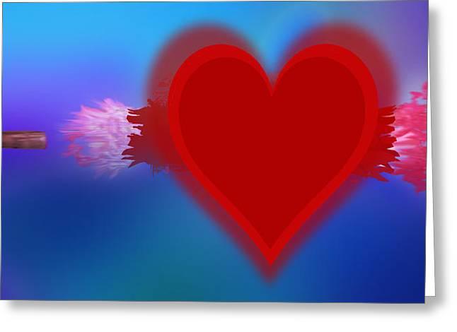 Anti Mixed Media Greeting Cards - Heart Series Love Speeding bullets 1 Greeting Card by Tony Rubino