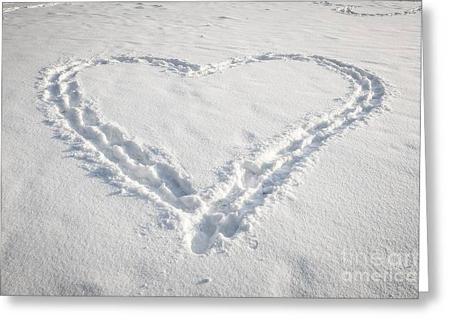 Footsteps Greeting Cards - Heart shape in snow Greeting Card by Elena Elisseeva