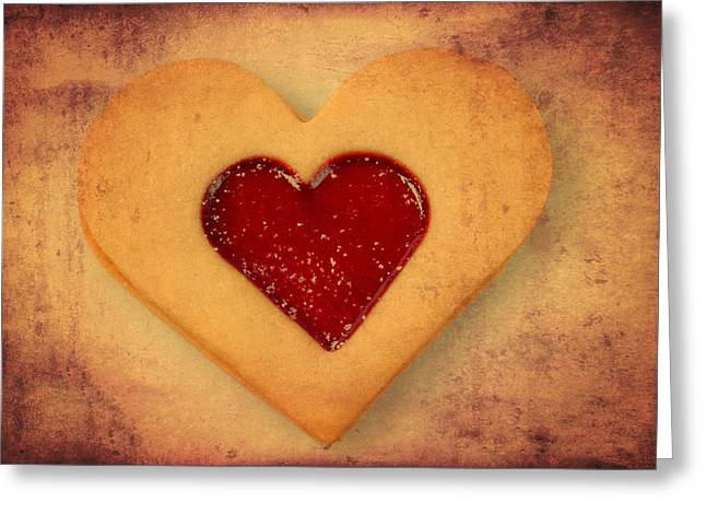 Liebe Greeting Cards - Heart shaped cookie with texture Greeting Card by Matthias Hauser