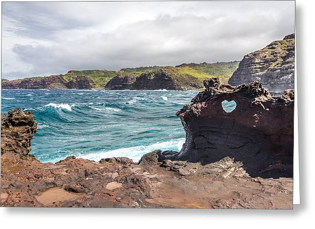 Nakalele Blow Hole Greeting Cards - Heart shaped hole at Nakalele Greeting Card by Pierre Leclerc Photography