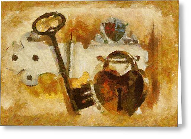 Tracey Harrington-simpson Greeting Cards - Heart Shaped Lock With Key Greeting Card by Tracey Harrington-Simpson