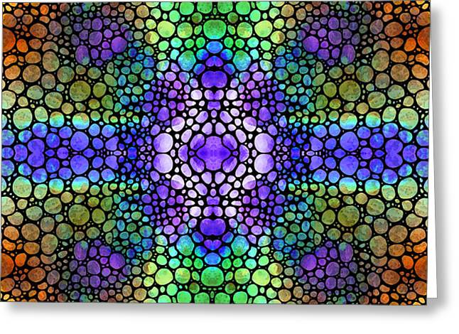 Light Framed Prints Greeting Cards - Heart Star - Colorful Art Stone Rockd Art By Sharon Cummings Greeting Card by Sharon Cummings