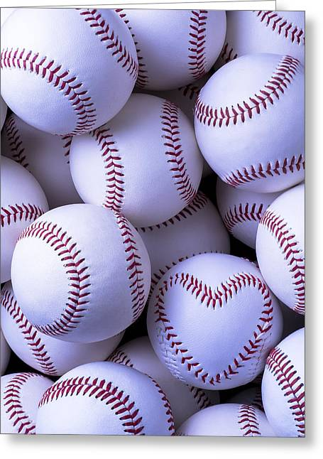 Love Game Greeting Cards - Heart stitched baseball Greeting Card by Garry Gay