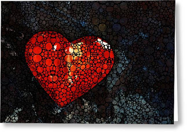 Mosaic Mixed Media Greeting Cards - Heart - Stone Rockd Art by Sharon Cummings Greeting Card by Sharon Cummings