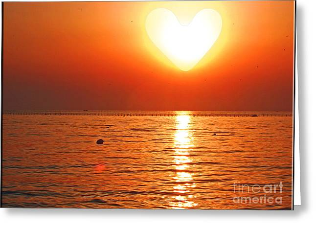 First Love Greeting Cards - Heart Sun Greeting Card by Nina Ficur Feenan