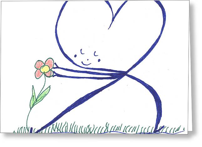 Human Spirit Drawings Greeting Cards - Heart touches flower lovingly Greeting Card by Heidi Sieber
