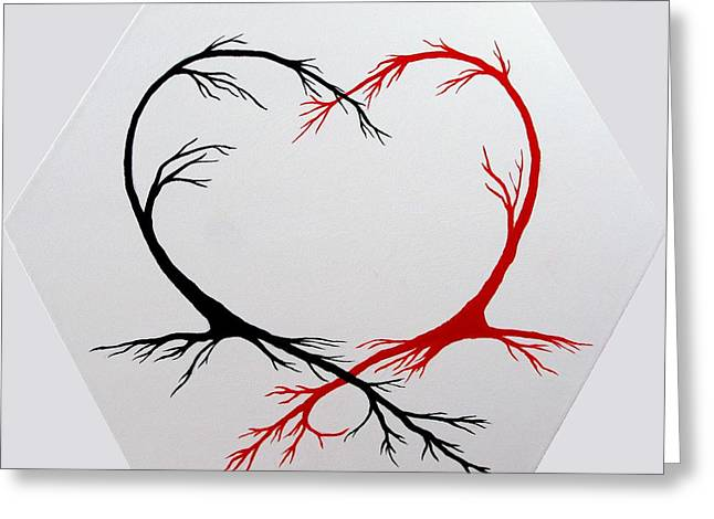 Tree Roots Greeting Cards - Heart Trees - Arteries of Love Greeting Card by Marianna Mills