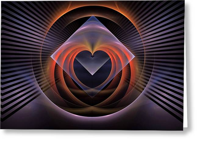 Geographic Mixed Media Greeting Cards - Heart-triangleBB Greeting Card by Bill Campitelle