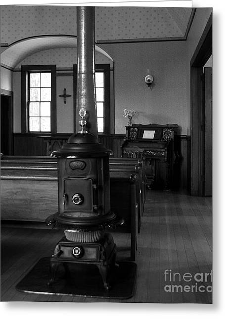 Wood Stove Greeting Cards - Heart Warming Experience BW Greeting Card by Mel Steinhauer