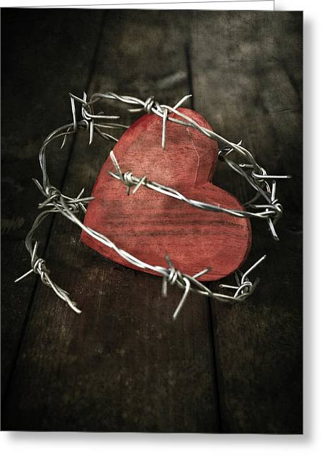 Dark Peak Greeting Cards - Heart With Barbed Wire Greeting Card by Joana Kruse
