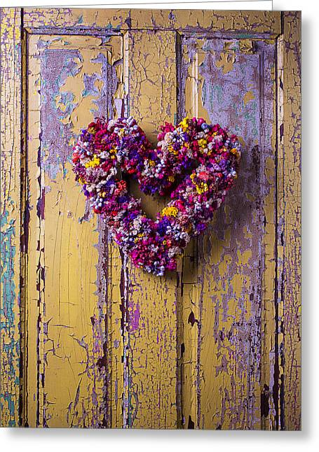Dried Flower Greeting Cards - Heart Wreath On Yellow Door Greeting Card by Garry Gay