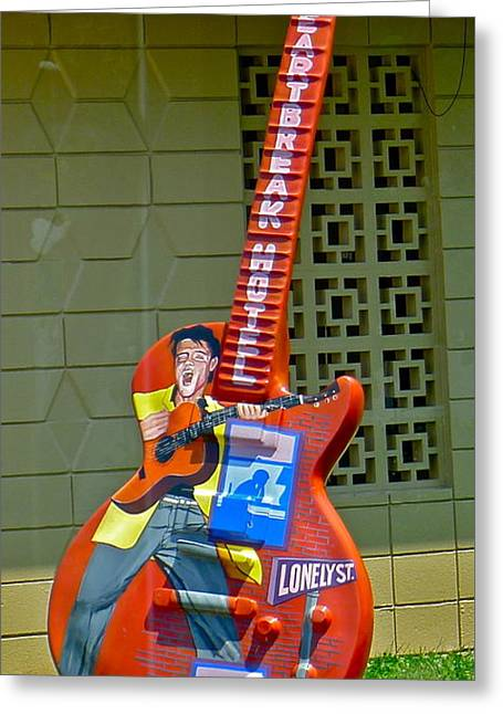 Heartbreak Hotel Guitar Greeting Card by Denise Mazzocco