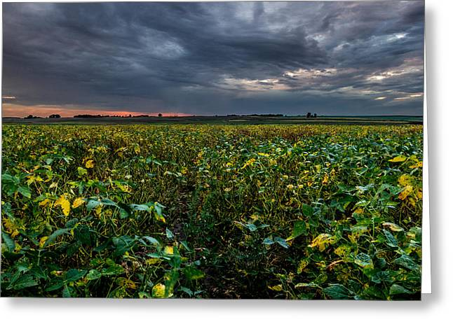 Thunderstorm Greeting Cards - Heartland Sunset Greeting Card by Aaron J Groen