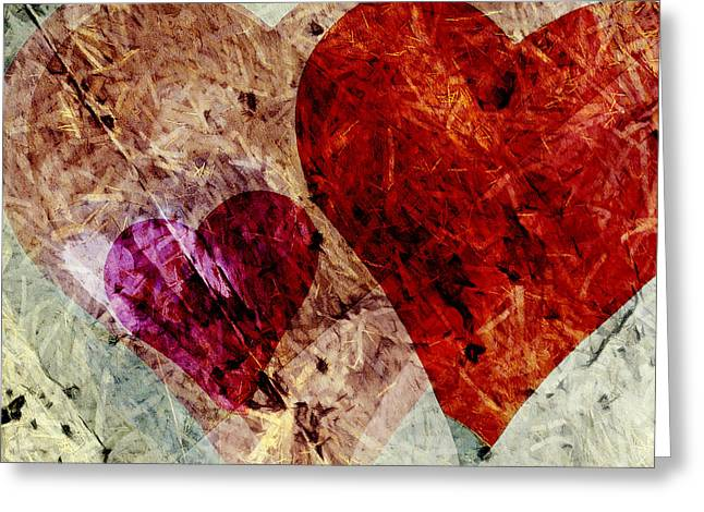 Layers Greeting Cards - Hearts 10 Square Greeting Card by Edward Fielding