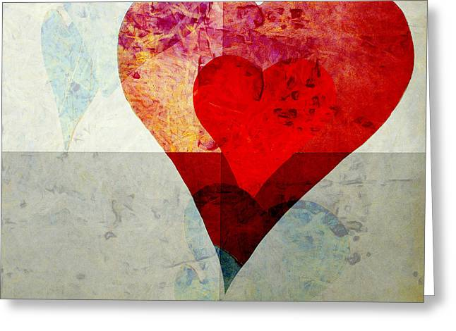Aspect Greeting Cards - Hearts 4 Square Greeting Card by Edward Fielding