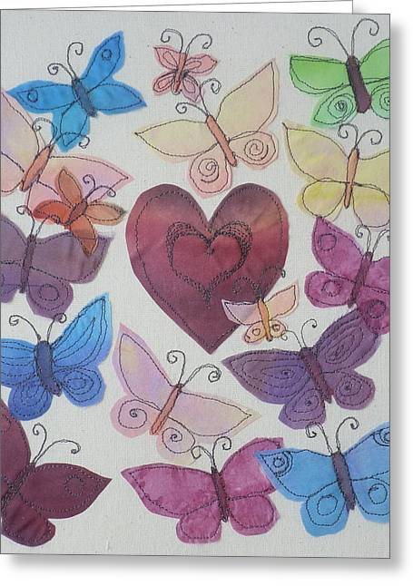 Butterfly Tapestries - Textiles Greeting Cards - Hearts and Butterflies Greeting Card by Hazel Millington
