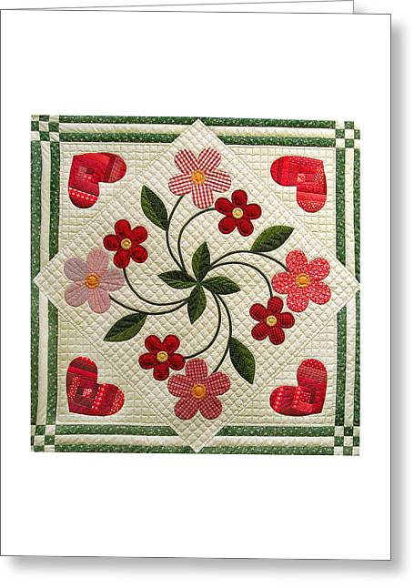 Applique Tapestries - Textiles Greeting Cards - Hearts and Flowers by Linda Aliotta Greeting Card by Linda Aliotta
