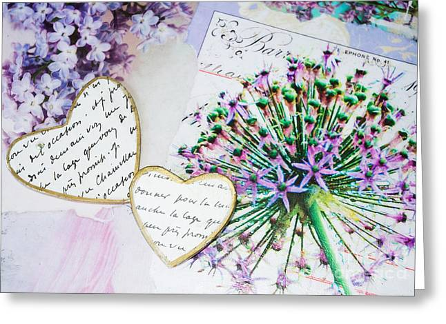 Surface Design Greeting Cards - Hearts and Flowers Purple Duvet Greeting Card by Anahi DeCanio - ArtyZen Home