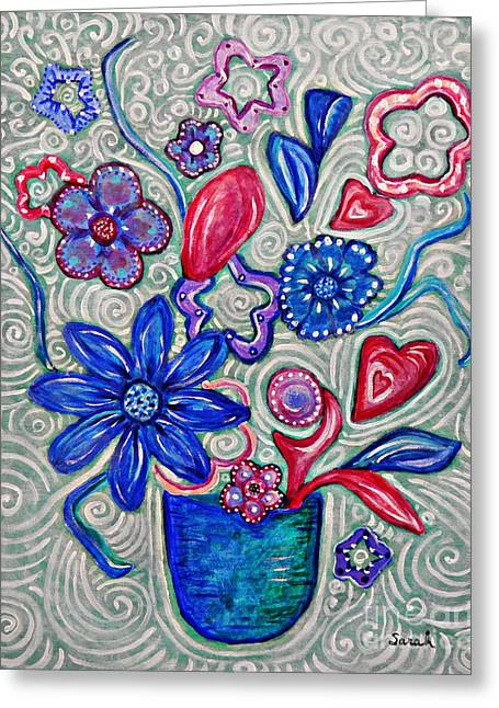 Hearts And Flowers Greeting Card by Sarah Loft