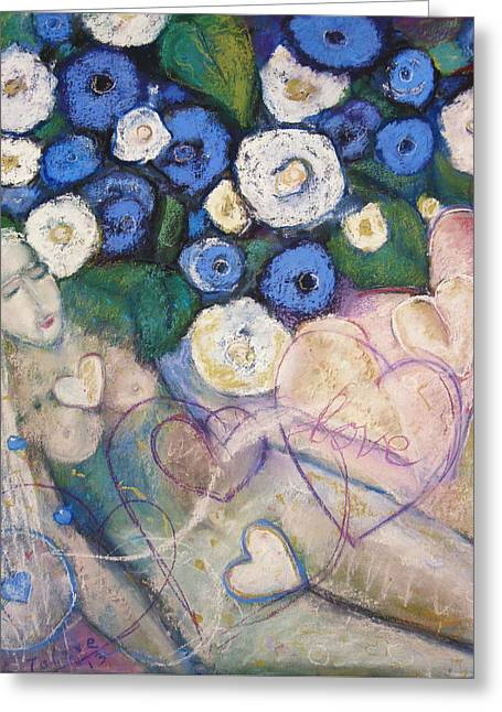 Sacred Pastels Greeting Cards - Hearts and Flowers Greeting Card by  Tolere