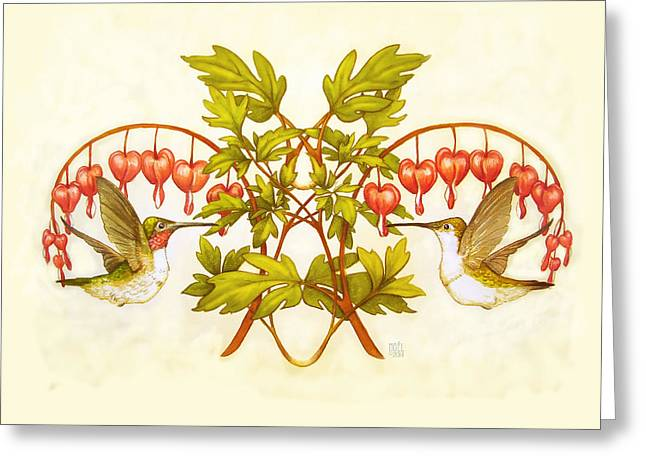 Catherine Mixed Media Greeting Cards - Hearts and Hummingbirds Greeting Card by Catherine Noel