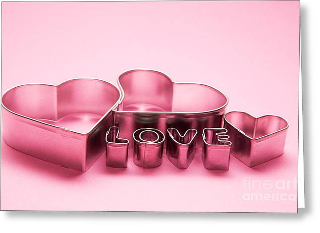 Caption Greeting Cards - Hearts and love letters text on pink background Greeting Card by Michal Bednarek
