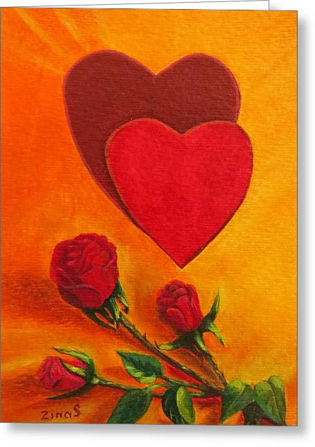 Photos With Red Paintings Greeting Cards - Hearts and roses say LOVE Greeting Card by Zina Stromberg