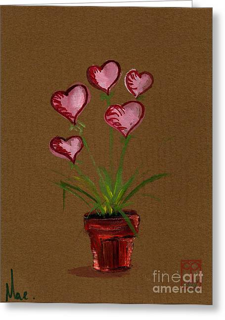 Potted Plants Drawings Greeting Cards - Hearts Bloom. A flower pot growing heart shaped flowers. 1998 Valentine Greeting Card by Cathy Peterson as Mae