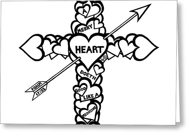 Pen And Paper Greeting Cards - Hearts Cross Greeting Card by Leigh Eldred