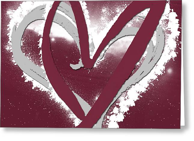 Red Wine Prints Mixed Media Greeting Cards - Hearts for Hearts 12 Greeting Card by Melissa Smith