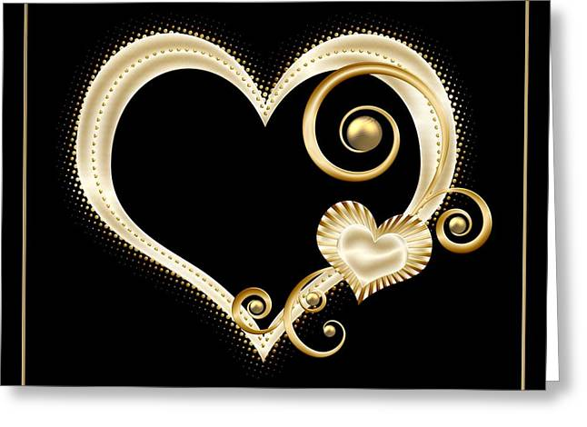 Santuci Greeting Cards - Hearts in Gold and Ivory on Black Greeting Card by Rose Santuci-Sofranko