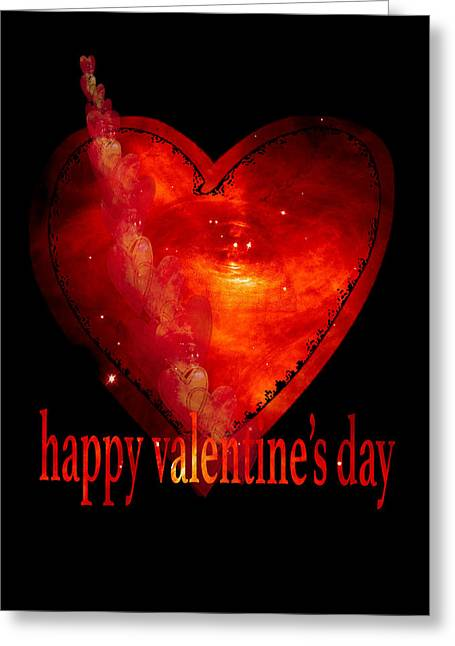 Outerspace Mixed Media Greeting Cards - Hearts in space card 1 Greeting Card by Marianne Campolongo