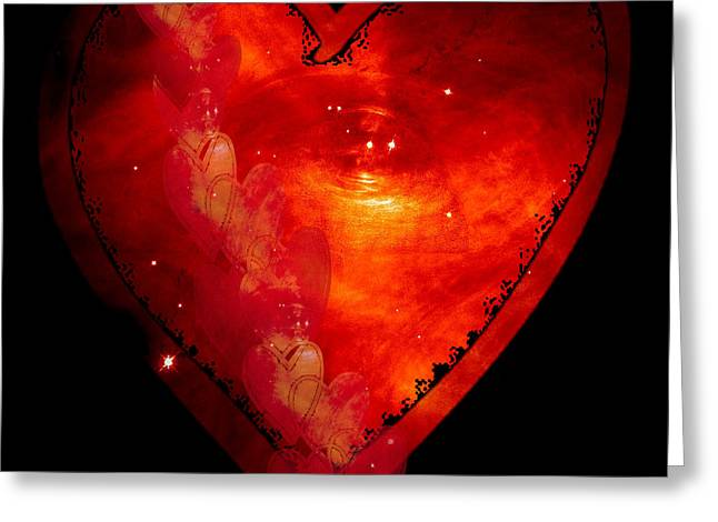 Outerspace Mixed Media Greeting Cards - Hearts in Space I Greeting Card by Marianne Campolongo