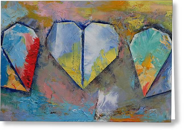 Torn Paintings Greeting Cards - Hearts Greeting Card by Michael Creese