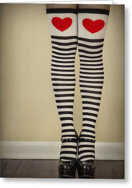 Sexy Young Woman Greeting Cards - Hearts n Stripes Greeting Card by Evelina Kremsdorf