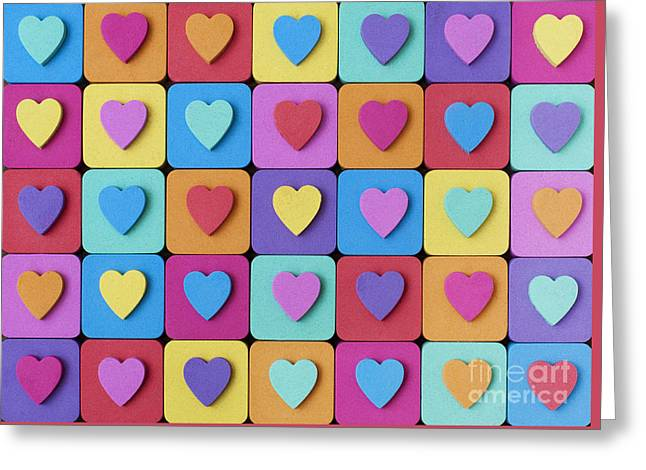 Hearts Of Colour Greeting Card by Tim Gainey