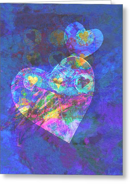 Hearts On Blue Greeting Card by Ann Powell