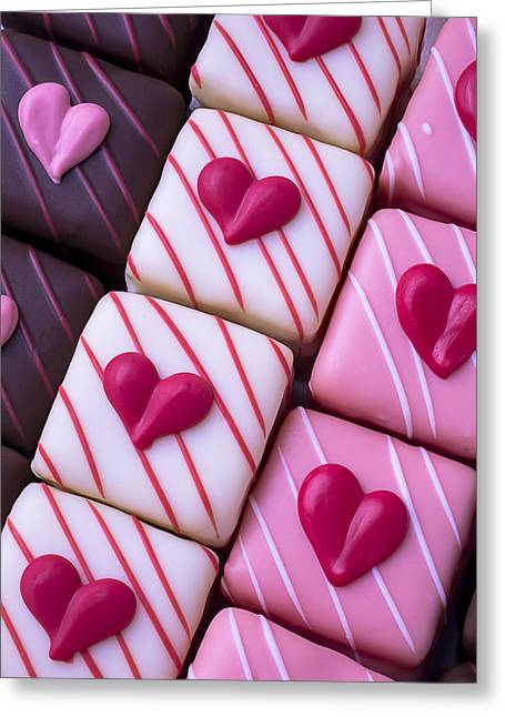 Hearts On Candy Greeting Card by Garry Gay