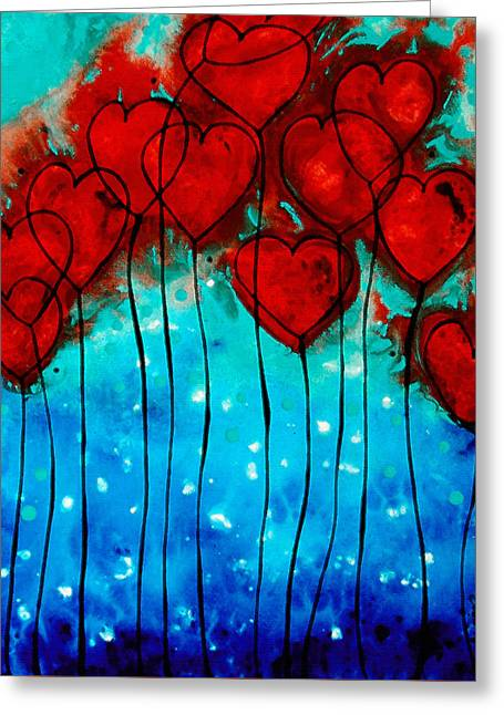 Wall Mixed Media Greeting Cards - Hearts on Fire - Romantic Art By Sharon Cummings Greeting Card by Sharon Cummings